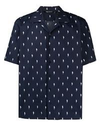 dunkelblaues und weißes bedrucktes Kurzarmhemd von Neil Barrett