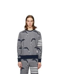 dunkelblaues und weißes bedrucktes Sweatshirt