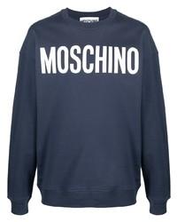 dunkelblaues und weißes bedrucktes Sweatshirt von Moschino