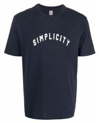 dunkelblaues und weißes bedrucktes T-Shirt mit einem Rundhalsausschnitt von Eleventy