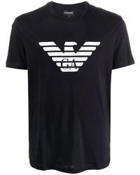 dunkelblaues und weißes bedrucktes T-Shirt mit einem Rundhalsausschnitt von Emporio Armani