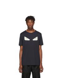 dunkelblaues und weißes bedrucktes T-Shirt mit einem Rundhalsausschnitt von Fendi