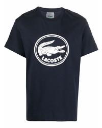 dunkelblaues und weißes bedrucktes T-Shirt mit einem Rundhalsausschnitt von Lacoste