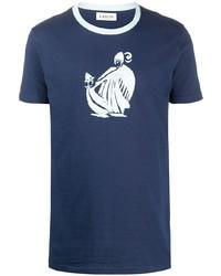 dunkelblaues und weißes bedrucktes T-Shirt mit einem Rundhalsausschnitt von Lanvin