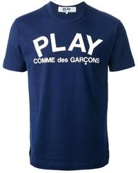 dunkelblaues und weißes bedrucktes T-Shirt mit Rundhalsausschnitt
