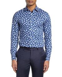 dunkelblaues und weißes Businesshemd mit Blumenmuster