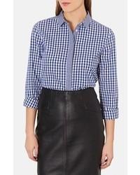 dunkelblaues und weißes Businesshemd mit Vichy-Muster