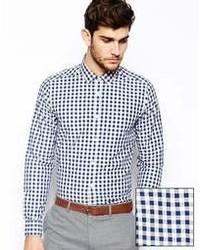 dunkelblaues und weißes Businesshemd mit Vichy-Muster von Asos