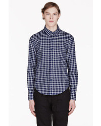 dunkelblaues und weißes Businesshemd mit Vichy-Muster von Band Of Outsiders