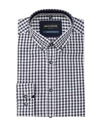 dunkelblaues und weißes Businesshemd mit Vichy-Muster von Bernd Berger
