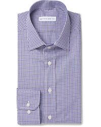 dunkelblaues und weißes Businesshemd mit Vichy-Muster von Etro