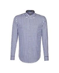 dunkelblaues und weißes Businesshemd mit Vichy-Muster von Jacques Britt