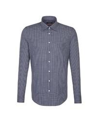 dunkelblaues und weißes Businesshemd mit Vichy-Muster von Seidensticker