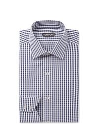 dunkelblaues und weißes Businesshemd mit Vichy-Muster von Tom Ford