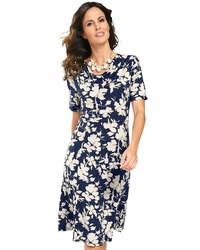 dunkelblaues und weißes Freizeitkleid mit Blumenmuster von LADY