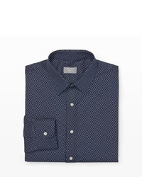 dunkelblaues und weißes gepunktetes Businesshemd