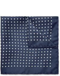 dunkelblaues und weißes gepunktetes Einstecktuch