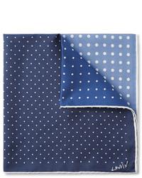 dunkelblaues und weißes gepunktetes Einstecktuch von Lanvin
