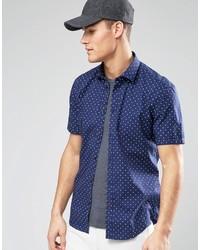 dunkelblaues und weißes gepunktetes Kurzarmhemd von Esprit