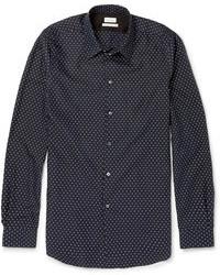 dunkelblaues und weißes gepunktetes Langarmhemd