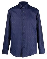 dunkelblaues und weißes gepunktetes Langarmhemd von BOSS HUGO BOSS