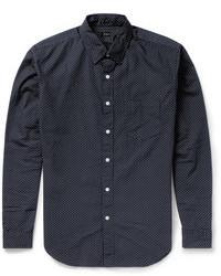 dunkelblaues und weißes gepunktetes Langarmhemd von J.Crew