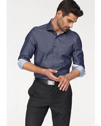 dunkelblaues und weißes gepunktetes Langarmhemd von Olymp