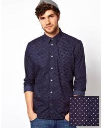dunkelblaues und weißes gepunktetes Langarmhemd von Paul Smith