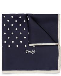 dunkelblaues und weißes gepunktetes Seide Einstecktuch von Drakes