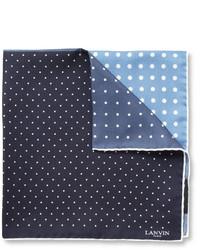 dunkelblaues und weißes gepunktetes Seide Einstecktuch von Lanvin