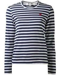 dunkelblaues und weißes horizontal gestreiftes Langarmshirt