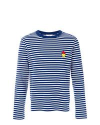 dunkelblaues und weißes horizontal gestreiftes Langarmshirt von AMI Alexandre Mattiussi