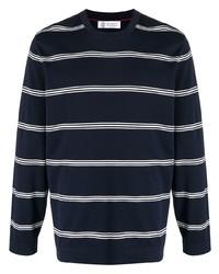 dunkelblaues und weißes horizontal gestreiftes Langarmshirt von Brunello Cucinelli