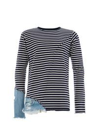 dunkelblaues und weißes horizontal gestreiftes Langarmshirt von Greg Lauren
