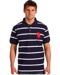 dunkelblaues und weißes horizontal gestreiftes Polohemd
