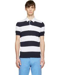 dunkelblaues und weißes horizontal gestreiftes Polohemd von DSQUARED2