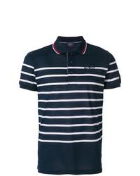 dunkelblaues und weißes horizontal gestreiftes Polohemd von Paul & Shark