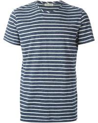 dunkelblaues und weißes horizontal gestreiftes T-Shirt mit einem Rundhalsausschnitt