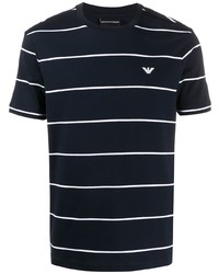 dunkelblaues und weißes horizontal gestreiftes T-Shirt mit einem Rundhalsausschnitt von Emporio Armani
