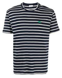 dunkelblaues und weißes horizontal gestreiftes T-Shirt mit einem Rundhalsausschnitt von Etro