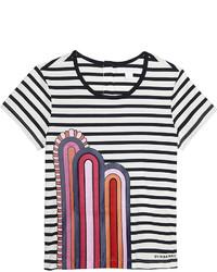 dunkelblaues und weißes horizontal gestreiftes T-shirt