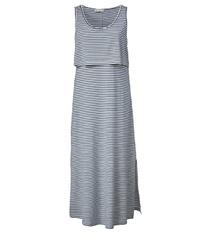 dunkelblaues und weißes horizontal gestreiftes Trägerkleid von Janet und Joyce by Happy Size