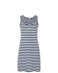 dunkelblaues und weißes horizontal gestreiftes Trägerkleid von Ps By Paul Smith