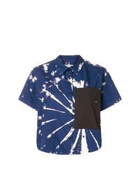 dunkelblaues und weißes Mit Batikmuster Kurzarmhemd von Proenza Schouler