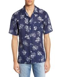dunkelblaues und weißes Kurzarmhemd mit Blumenmuster