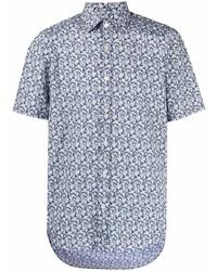 dunkelblaues und weißes Kurzarmhemd mit Blumenmuster von Canali