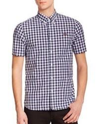 dunkelblaues und weißes Kurzarmhemd mit Vichy-Muster