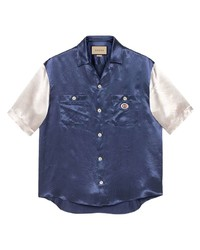 dunkelblaues und weißes Kurzarmhemd von Gucci