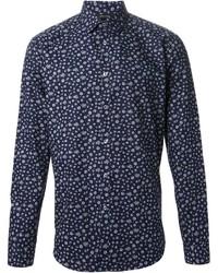 dunkelblaues und weißes Langarmhemd mit Blumenmuster von Paul Smith