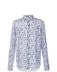 dunkelblaues und weißes Langarmhemd mit Blumenmuster von Xacus